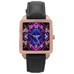 Galaxy Rose Gold Leather Watch  by Rbrendes