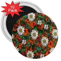 Flowers 3  Button Magnet (10 Pack) by Rbrendes