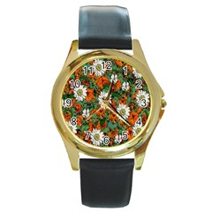 Flowers Round Leather Watch (gold Rim)  by Rbrendes