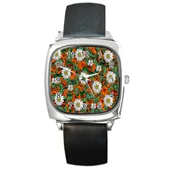 Flowers Square Leather Watch by Rbrendes