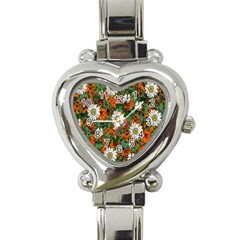 Flowers Heart Italian Charm Watch  by Rbrendes