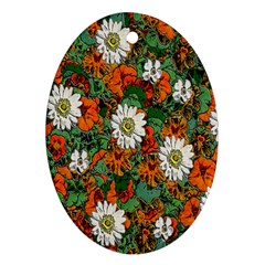 Flowers Oval Ornament (two Sides) by Rbrendes