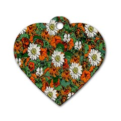 Flowers Dog Tag Heart (One Sided)