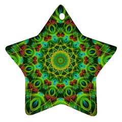 Peacock Feathers Mandala Star Ornament by Zandiepants