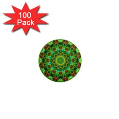 Peacock Feathers Mandala 1  Mini Button Magnet (100 Pack) by Zandiepants