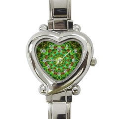 Peacock Feathers Mandala Heart Italian Charm Watch  by Zandiepants