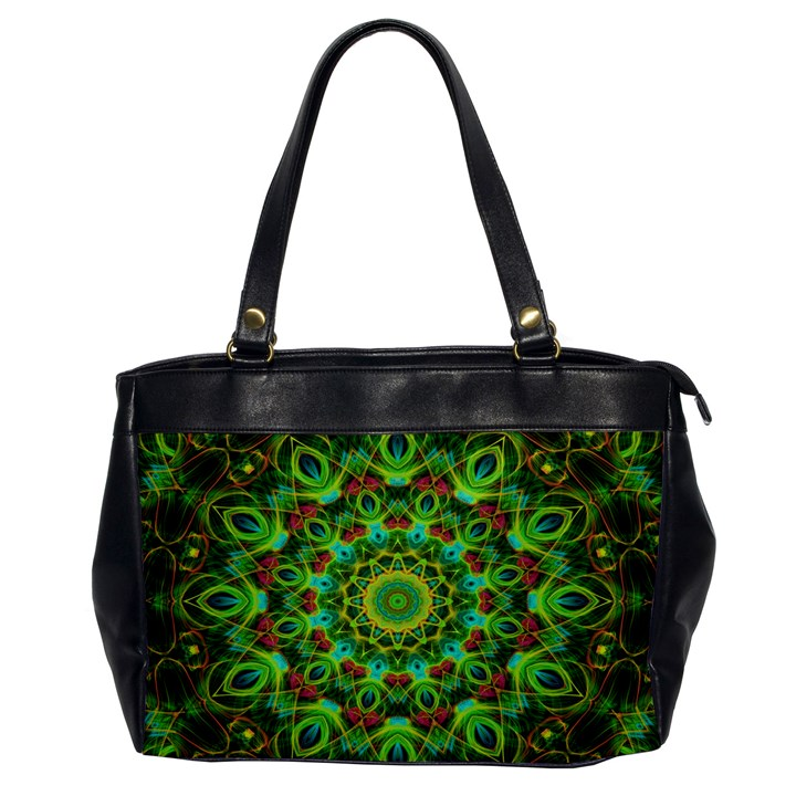 Peacock Feathers Mandala Oversize Office Handbag (One Side)