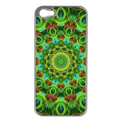 Peacock Feathers Mandala Apple Iphone 5 Case (silver) by Zandiepants