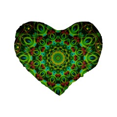 Peacock Feathers Mandala 16  Premium Heart Shape Cushion  by Zandiepants