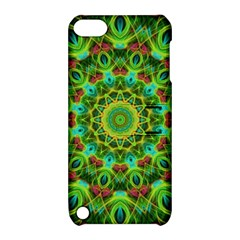 Peacock Feathers Mandala Apple Ipod Touch 5 Hardshell Case With Stand by Zandiepants