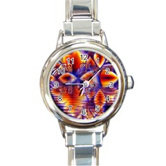 Winter Crystal Palace, Abstract Cosmic Dream Round Italian Charm Watch by DianeClancy