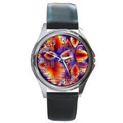 Winter Crystal Palace, Abstract Cosmic Dream Round Metal Watch by DianeClancy