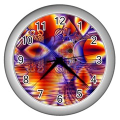 Winter Crystal Palace, Abstract Cosmic Dream Wall Clock (silver) by DianeClancy