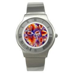 Winter Crystal Palace, Abstract Cosmic Dream Stainless Steel Watch by DianeClancy
