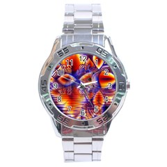 Winter Crystal Palace, Abstract Cosmic Dream Stainless Steel Analogue Men's Watch by DianeClancy