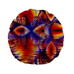 Winter Crystal Palace, Abstract Cosmic Dream 15  Premium Round Cushion  by DianeClancy