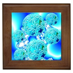Blue Ice Crystals, Abstract Aqua Azure Cyan Framed Tile by DianeClancy