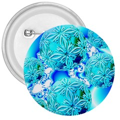 Blue Ice Crystals, Abstract Aqua Azure Cyan 3  Button by DianeClancy