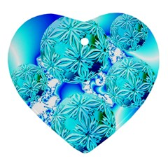 Blue Ice Crystals, Abstract Aqua Azure Cyan Ornament (heart) by DianeClancy