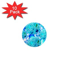 Blue Ice Crystals, Abstract Aqua Azure Cyan 1  Mini Magnet (10 Pack)  by DianeClancy