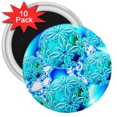 Blue Ice Crystals, Abstract Aqua Azure Cyan 3  Magnet (10 Pack) by DianeClancy