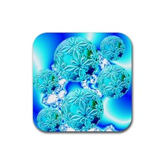 Blue Ice Crystals, Abstract Aqua Azure Cyan Rubber Coaster (square) by DianeClancy