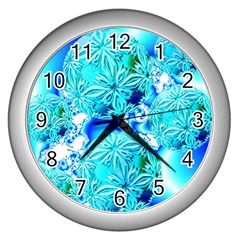 Blue Ice Crystals, Abstract Aqua Azure Cyan Wall Clock (silver) by DianeClancy