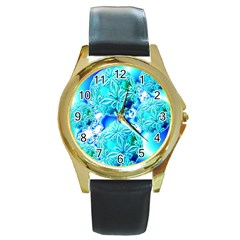 Blue Ice Crystals, Abstract Aqua Azure Cyan Round Gold Metal Watch by DianeClancy