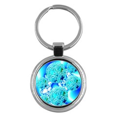 Blue Ice Crystals, Abstract Aqua Azure Cyan Key Chain (round) by DianeClancy