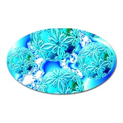 Blue Ice Crystals, Abstract Aqua Azure Cyan Magnet (oval) by DianeClancy