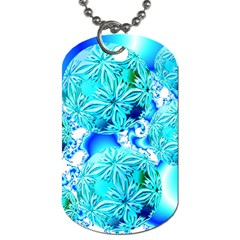 Blue Ice Crystals, Abstract Aqua Azure Cyan Dog Tag (one Side) by DianeClancy