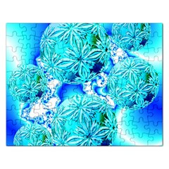 Blue Ice Crystals, Abstract Aqua Azure Cyan Jigsaw Puzzle (rectangular) by DianeClancy