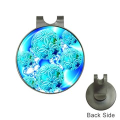 Blue Ice Crystals, Abstract Aqua Azure Cyan Golf Ball Marker Hat Clip by DianeClancy