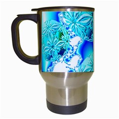 Blue Ice Crystals, Abstract Aqua Azure Cyan Travel Mug (white) by DianeClancy