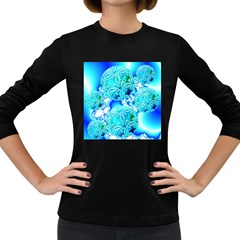 Blue Ice Crystals, Abstract Aqua Azure Cyan Women s Long Sleeve Dark T Shirt by DianeClancy