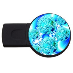 Blue Ice Crystals, Abstract Aqua Azure Cyan Usb Flash Drive Round (4 Gb) by DianeClancy