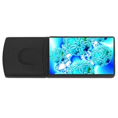 Blue Ice Crystals, Abstract Aqua Azure Cyan Usb Flash Drive Rectangular (4 Gb) by DianeClancy