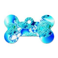 Blue Ice Crystals, Abstract Aqua Azure Cyan Dog Tag Bone (one Side) by DianeClancy