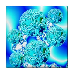 Blue Ice Crystals, Abstract Aqua Azure Cyan Face Towel by DianeClancy