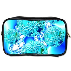 Blue Ice Crystals, Abstract Aqua Azure Cyan Toiletries Bag (two Sides) by DianeClancy