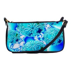 Blue Ice Crystals, Abstract Aqua Azure Cyan Shoulder Clutch Bag by DianeClancy