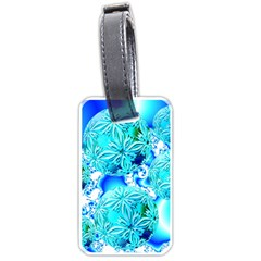 Blue Ice Crystals, Abstract Aqua Azure Cyan Luggage Tag (two Sides) by DianeClancy