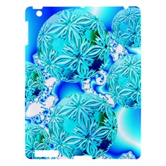 Blue Ice Crystals, Abstract Aqua Azure Cyan Apple Ipad 3/4 Hardshell Case by DianeClancy
