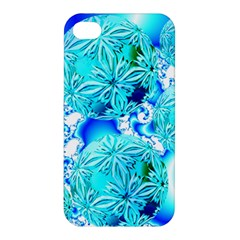 Blue Ice Crystals, Abstract Aqua Azure Cyan Apple Iphone 4/4s Premium Hardshell Case