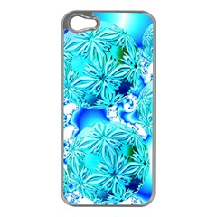 Blue Ice Crystals, Abstract Aqua Azure Cyan Apple Iphone 5 Case (silver) by DianeClancy