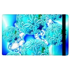 Blue Ice Crystals, Abstract Aqua Azure Cyan Apple Ipad 2 Flip Case by DianeClancy