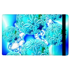 Blue Ice Crystals, Abstract Aqua Azure Cyan Apple Ipad 3/4 Flip Case by DianeClancy