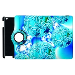 Blue Ice Crystals, Abstract Aqua Azure Cyan Apple Ipad 3/4 Flip 360 Case by DianeClancy