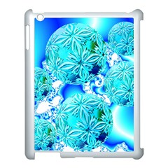 Blue Ice Crystals, Abstract Aqua Azure Cyan Apple Ipad 3/4 Case (white) by DianeClancy