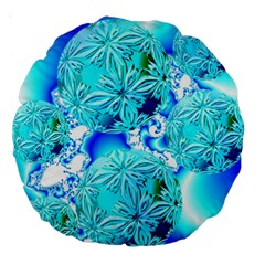 Blue Ice Crystals, Abstract Aqua Azure Cyan 18  Premium Round Cushion  by DianeClancy